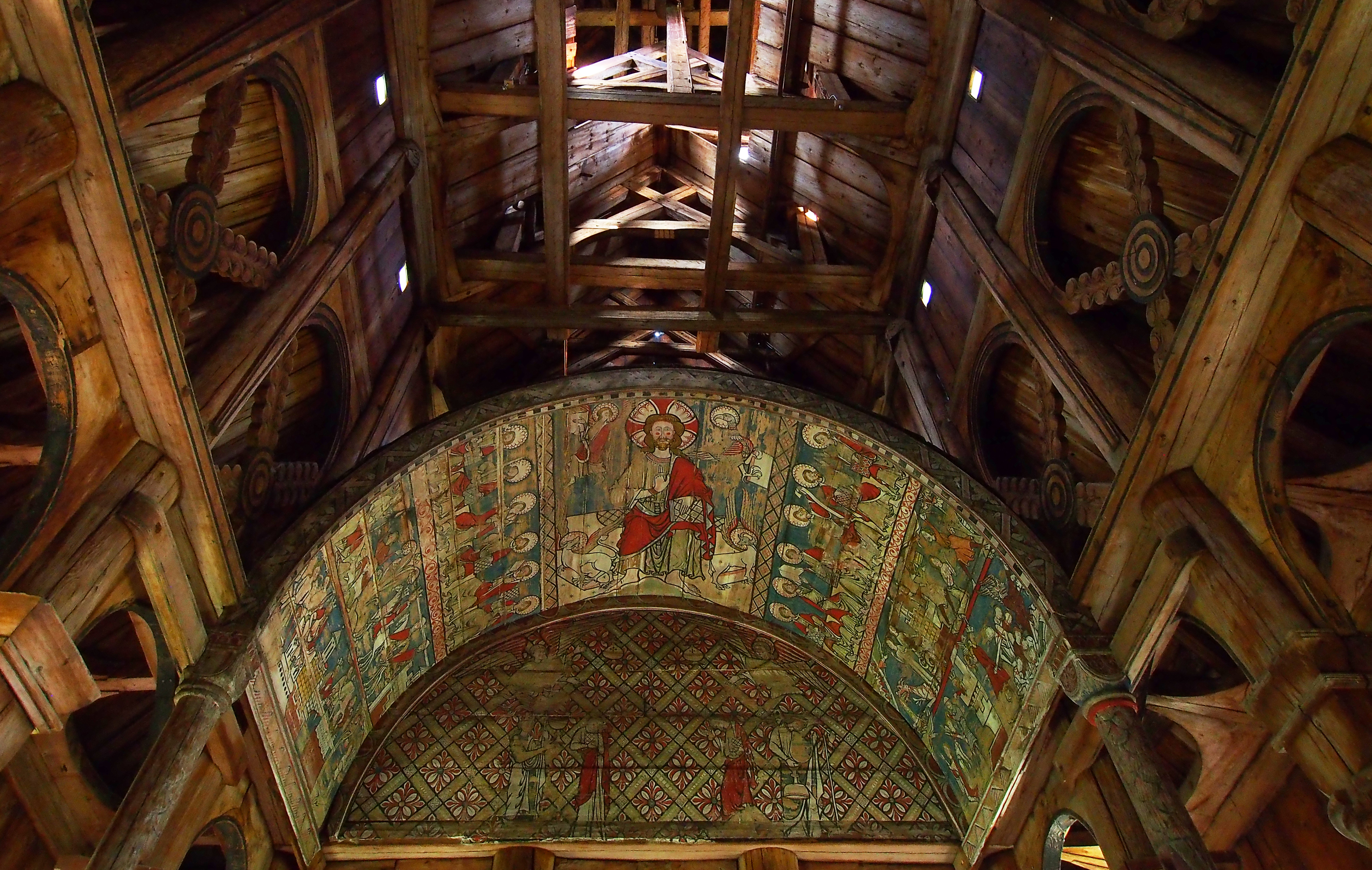 Painted ceiling in a Norwegian stave church