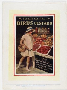 Bird's Custard advert 1920s. From Lifting the Lid. 400 years of food and drink in Scotland exhibition at the National Library of Scotland.