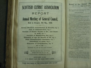 Cover of the Scottish Clerks Association's annual report for 1920