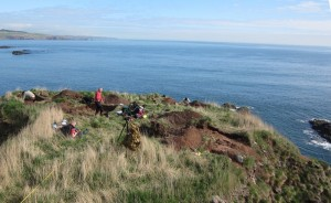 Excavations underway on top of Dunnicaer Image University of Aberdeen