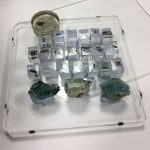 Glass fragments mounted in resin