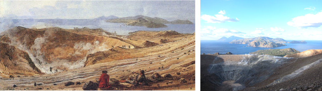 Illustration and photograph of Vulcano crater