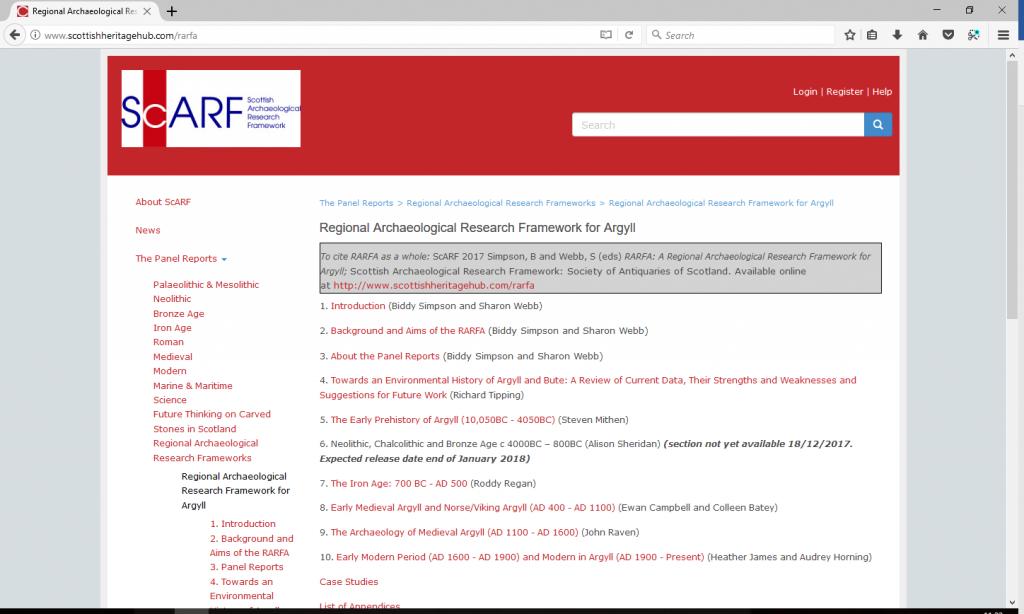 Screenshot of RARFA front page