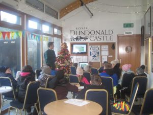 Tomas presenting an 'Introducing Archaeology' lecture at Dundonald Castle Visitor Centre.