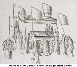 Illustration of funeral of Mary Queen of Scots