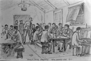 Sketch of Inchkeith, 'Sgts Mess Smoker New Year's Eve 1917', by 2nd Lt Ross (Archibald Ross. Reproduced with permission of Fiona Buchanan)