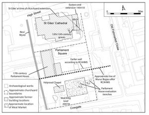 Reconstructed plan of St Giles' graveyard (© AOC Archaeology group)