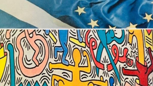 The Scottish and European flag, and Keith Haring's 'Tuttomondo', 1989