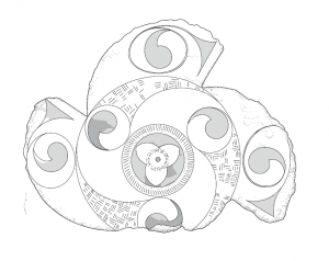 Pencil drawing of a spiral stone artwork