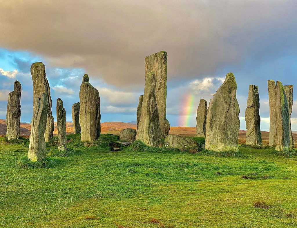 Photograph of Calainais Stones with rainbow