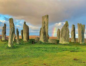 Photograph of Calainais Stones with rainbow