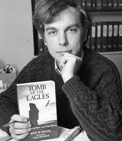 Photograph of John Hedges with the Tomb of the Eagles publication, c. 1987 (© John Hedges' archive)