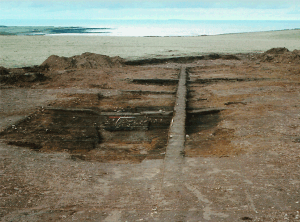 Photograph of excavation of mesolithic house